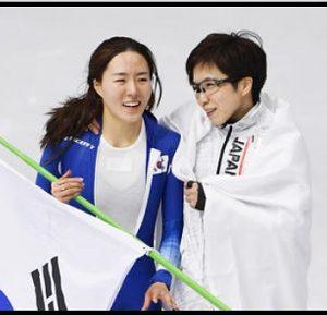 イサンファ 小平奈緒 ライバル 仲良し かわいい 画像 韓国 日本 スピードスケート 平昌 オリンピック 500メートル