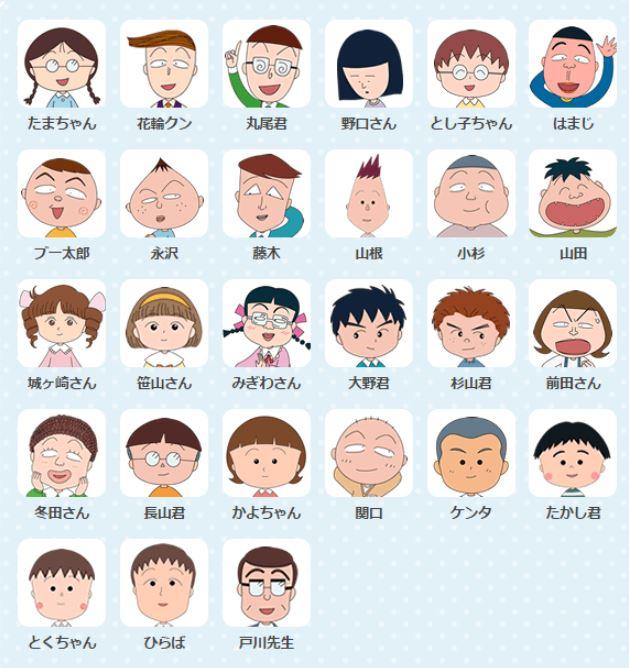 ちびまる子ちゃんのキャラクターで実在するモデルと登場人物一覧